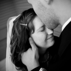 Black and White wedding portrait at French Lake Park in Plymouth MN