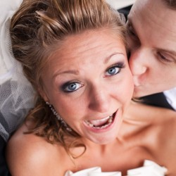 Bride and groom having fun in Maple Grove MN