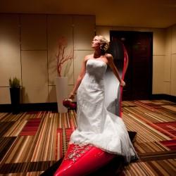 Bride in the big shoe at the Cosmopolitan in Las Vegas NV