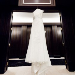Photo of wedding dress hanging on a hanger at the Cosmopolitan in Las Vegas NV