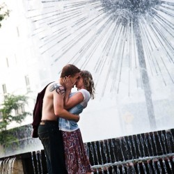 Romantic Engagement Photo at the dandelion fountain at Loring Park Minneapolis MN