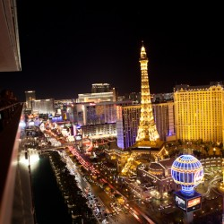 View from balcony of the Cosmopolitan of the Las Vegas strip
