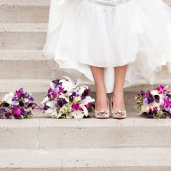 Wedding photographs of Bride and boquets at Church of the Open Door in Maple Grove MN