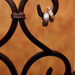 Wedding rings on wrought iron in Rogers MN